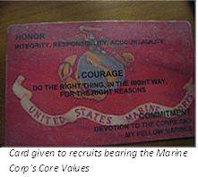 US Marine Corp Values Card